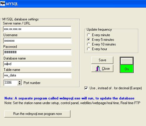 Data output to MySql